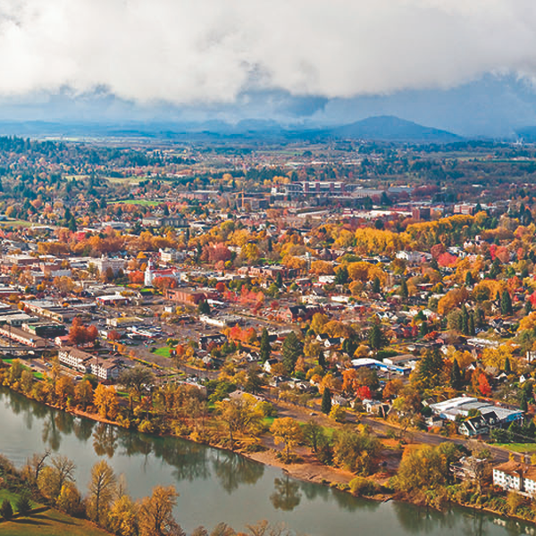 Aerial view of Corvallis in fall
